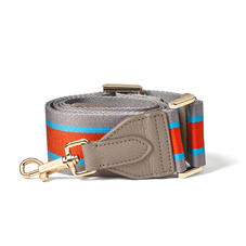 Webbing Bag Strap in Marmalade, Aqua & Silver Stripes