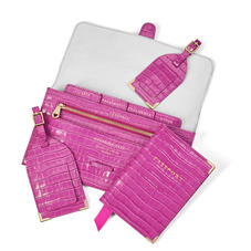 Travel Collection with Removable Inserts in Deep Shine Hibiscus Small Croc