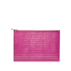 Large Essential Flat Pouch in Deep Shine Hibiscus Small Croc