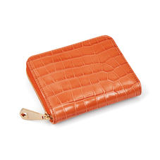 Slim Mini Continental Purse in Deep Shine Marmalade Small Croc