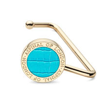 Aspinal Handbag Hook in Deep Shine Aqua Small Croc