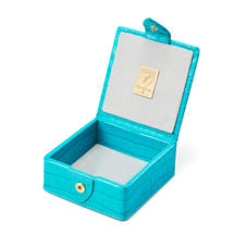 Stud Box in Deep Shine Aqua Small Croc