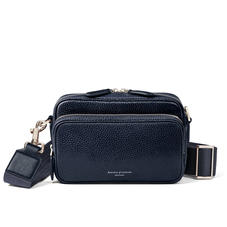 Reporter East West Messenger Bag in Navy Pebble