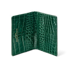 Double Fold Credit Card Holder in Evergreen Patent Croc
