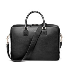 Small Mount Street Laptop Bag in Black Pebble
