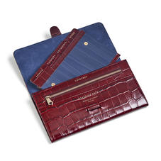 Travel Wallet with Removable Inserts in Deep Shine Bordeaux Croc