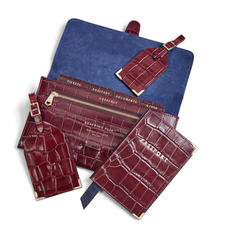 Travel Collection with Removable Inserts in Deep Shine Bordeaux Croc