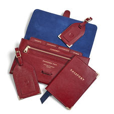 Travel Collection with Removable Inserts in Bordeaux Silk Lizard