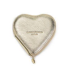 Heart Coin Purse in Pale Gold Pebble