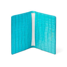 Double Fold Credit Card Holder in Deep Shine Aqua Small Croc
