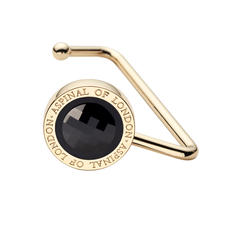 Aspinal Handbag Hook in Black Patent Leather & Black SWAROVSKI ELEMENTS