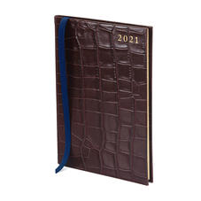 A5 Week to View Leather Diary in Deep Shine Amazon Brown Croc
