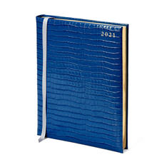 Quarto A4 Day to Page Leather Diary in Deep Shine Blue Small Croc