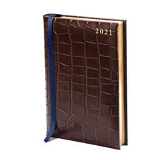 A5 Day to Page Leather Diary in Deep Shine Amazon Brown Croc