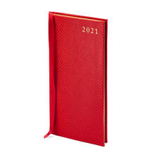 Slim Pocket Leather Diary in Berry Lizard