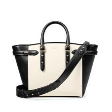 Midi Marylebone Tote in Ivory Saffiano & Smooth Black