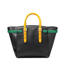 Midi Marylebone Tote in Black Pebble with Mustard & Emerald Croc Print