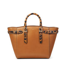 Midi Marylebone Tote in Smooth Tan with Leopard Print