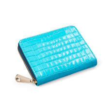 Slim Mini Continental Purse in Deep Shine Aqua Small Croc