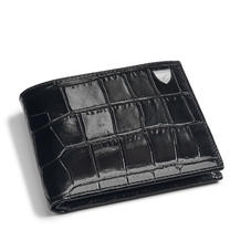 8 Card Billfold Wallet in Deep Shine Black Croc