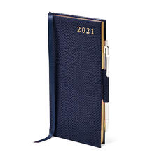 Slim Pocket Leather Diary with Pen in Midnight Blue Lizard