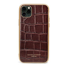 iPhone 11 Pro Max Case with Gold Edge in Deep Shine Amazon Brown Croc