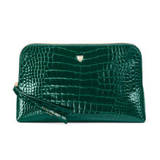 Large Essential Cosmetic Case in Evergreen Patent Croc