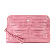 Large Essential Cosmetic Case in Deep Shine Tea Rose Small Croc