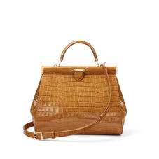 Small Florence Frame Bag in Deep Shine Vintage Tan Small Croc