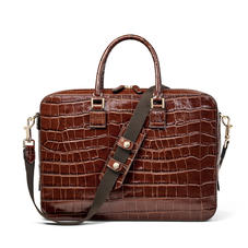 Small Mount Street Laptop Bag in Deep Shine Brown Soft Croc