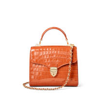 Midi Mayfair Bag in Deep Shine Marmalade Small Croc
