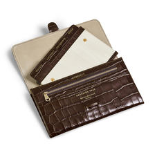 Travel Wallet with Removable Inserts in Deep Shine Amazon Brown Croc