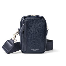 Reporter North South Bag in Navy Pebble