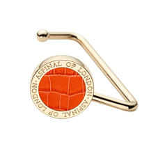 Aspinal Handbag Hook in Deep Shine Marmalade Small Croc