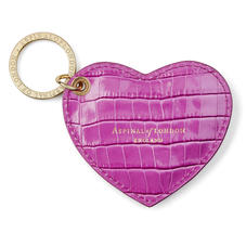 Heart Key Ring in Deep Shine Hibiscus Small Croc