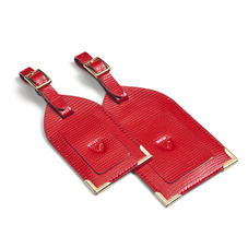Set of 2 Luggage Tags in Scarlet Silk Lizard