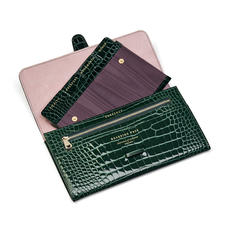 Travel Wallet with Removable Inserts in Evergreen Patent Croc