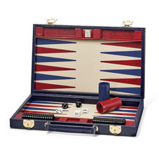 15-inch Backgammon Set in Midnight Blue Silk Lizard