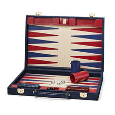 17-inch Backgammon Set in Midnight Blue Silk Lizard