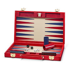 15-inch Backgammon Set in Scarlet Silk Lizard