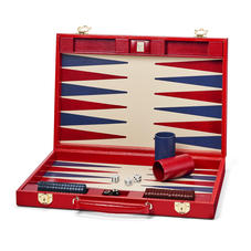 17-inch Backgammon Set in Scarlet Silk Lizard