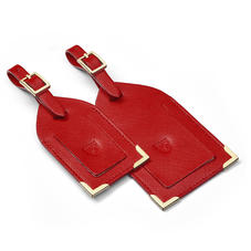 Set of 2 Luggage Tags in Scarlet Saffiano