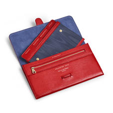 Travel Wallet with Removable Inserts in Scarlet Silk Lizard