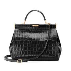 Large Florence Frame Bag in Deep Shine Black Croc