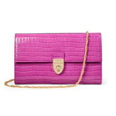 Mayfair Clutch in Deep Shine Hibiscus Small Croc