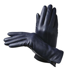 Ladies' Cashmere Lined Leather Gloves in Navy Nappa