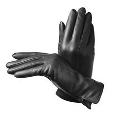 Ladies' Cashmere Lined Leather Gloves in Black Nappa