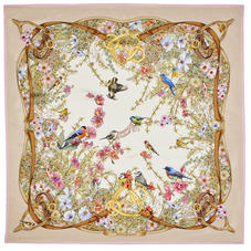 Edwardian Garden Silk Scarf in Putty Pure Silk Twill
