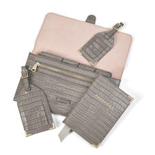 Travel Collection with Removable Inserts in Deep Shine Warm Grey Small Croc