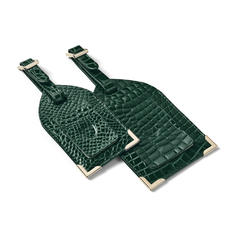 Set of 2 Luggage Tags in Evergreen Patent Croc